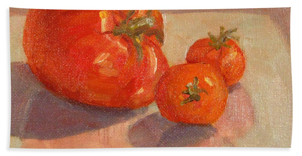 Tomatoes Bath Sheet featuring the painting Proud Mama by Robie Benve