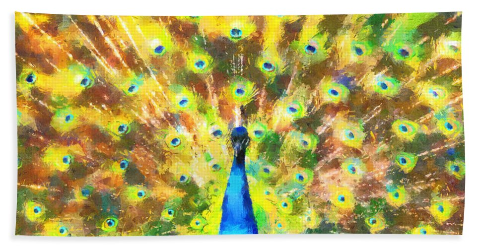 Peacock Hand Towel featuring the painting Proud Peacock by Lynne Jenkins