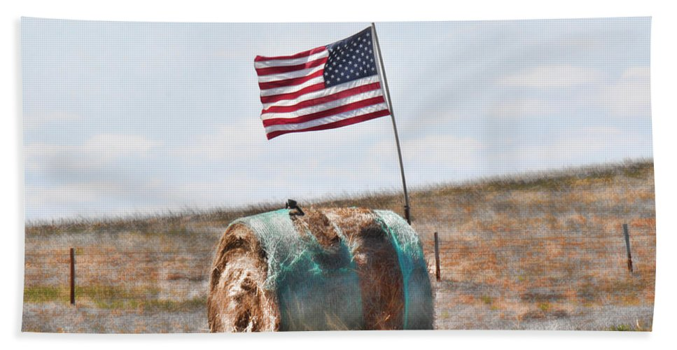 Flag Bath Sheet featuring the photograph Proud To Be An American by Sylvia Thornton