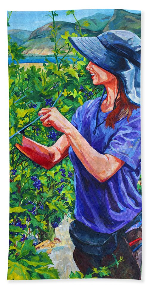 Vineyard Hand Towel featuring the painting Pruning The Pinot by Derrick Higgins