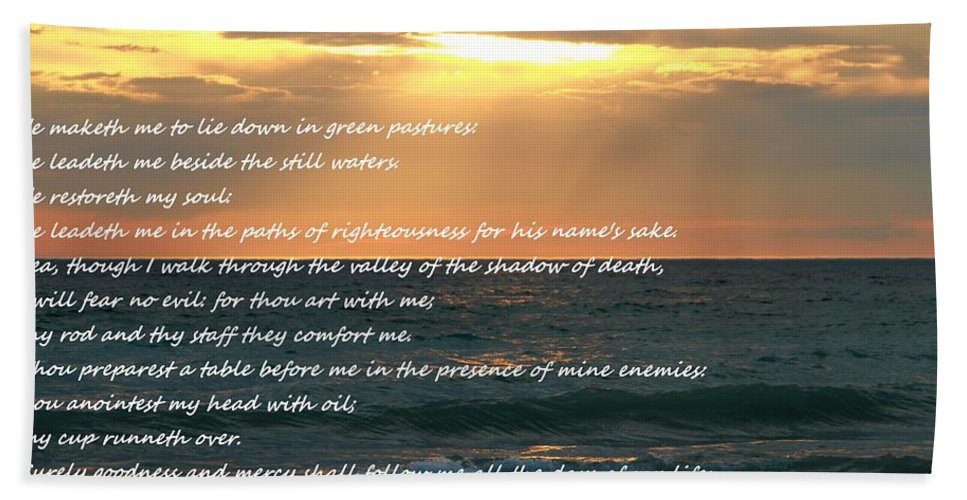 Psalm 23 Beach Sunset Bath Sheet featuring the mixed media Psalm 23 Beach Sunset by Dan Sproul