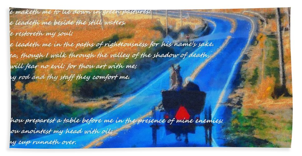 Psalm 23 Beach Sunset Bath Sheet featuring the mixed media Psalm 23 Country Roads by Dan Sproul
