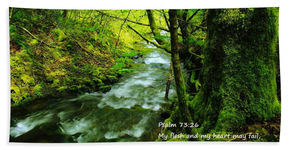 Water Hand Towel featuring the photograph Psalms 73-26 by Jeff Swan