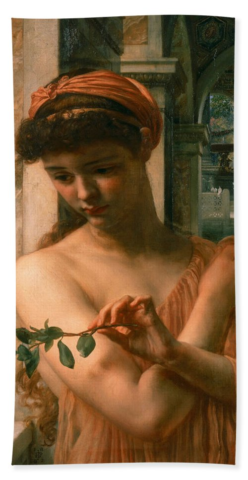 Edward John Poynter Hand Towel featuring the painting Psyche In The Temple Of Love by Edward John Poynter