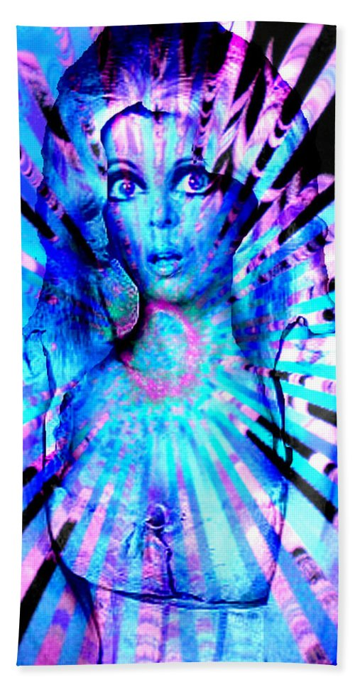 Psychedelic Barbie Hand Towel featuring the digital art Psychedelic Barbie by Seth Weaver