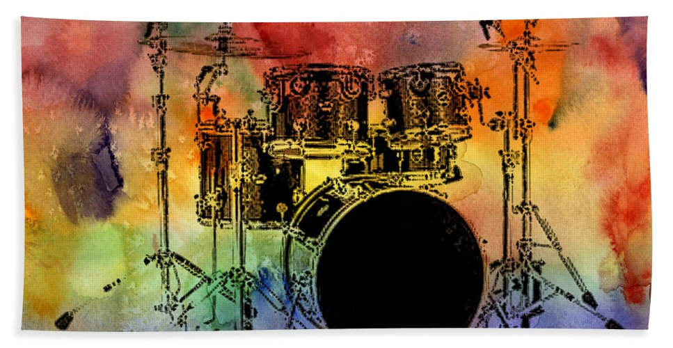 Drums Bath Towel featuring the photograph Psychedelic Drum Set by Athena Mckinzie