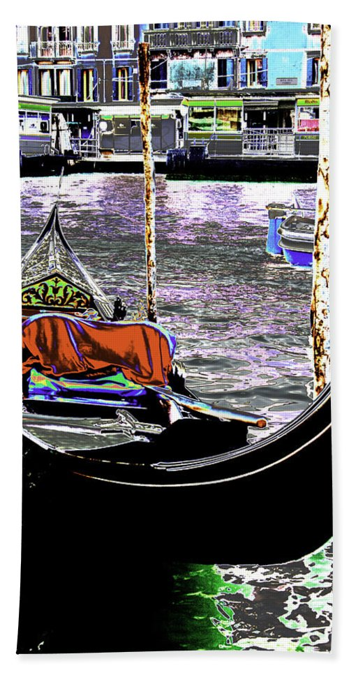 Psychedelic Hand Towel featuring the photograph Psychedelic Gondola Venice by Peter Lloyd