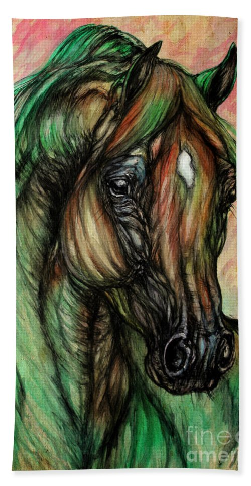 Horse Bath Sheet featuring the painting Psychedelic Green And Pink by Angel Ciesniarska