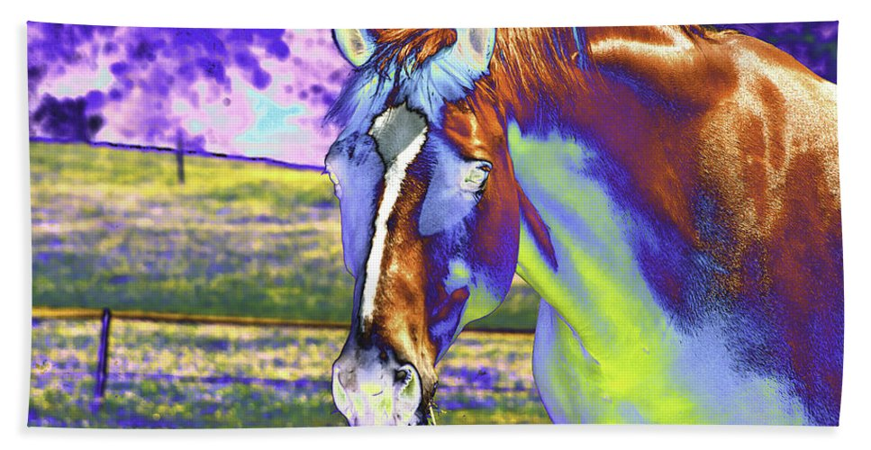 Horse Hand Towel featuring the photograph Psychedelic Horse by Peter Lloyd