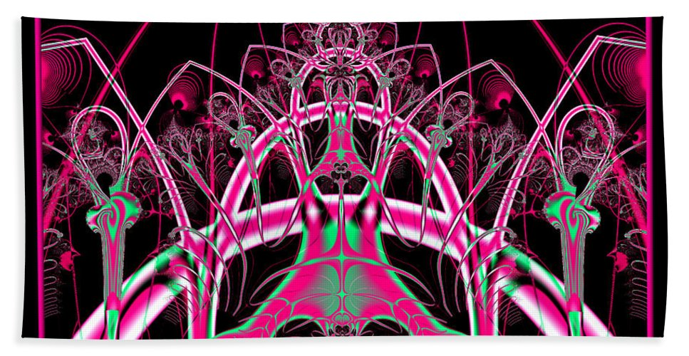Roller-coasters Bath Sheet featuring the digital art Psychedelic Rollercoaster Tunnel Fractal 65 by Rose Santuci-Sofranko