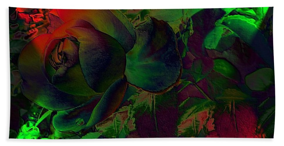 Psychedelic Rose Bath Sheet featuring the digital art Psychedelic Rose by FL collection