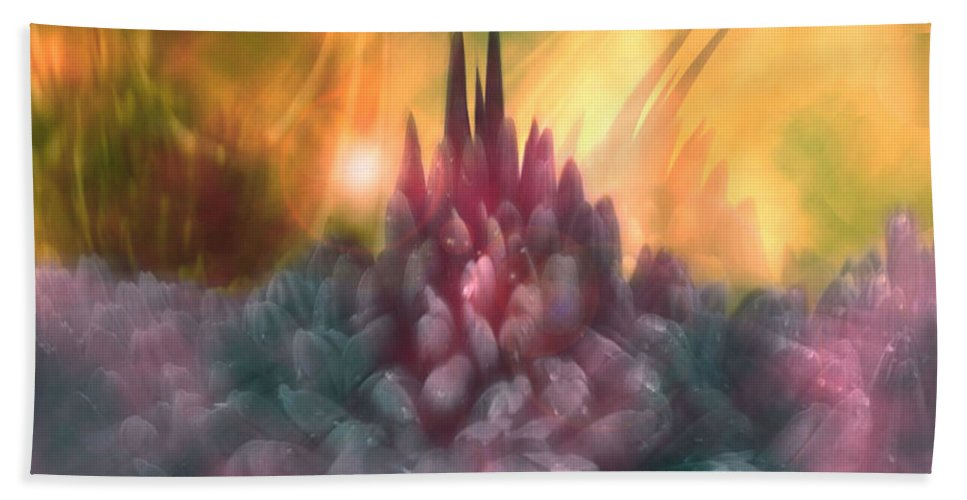 Abstract Bath Sheet featuring the digital art Psychedelic Tendencies  by Linda Sannuti