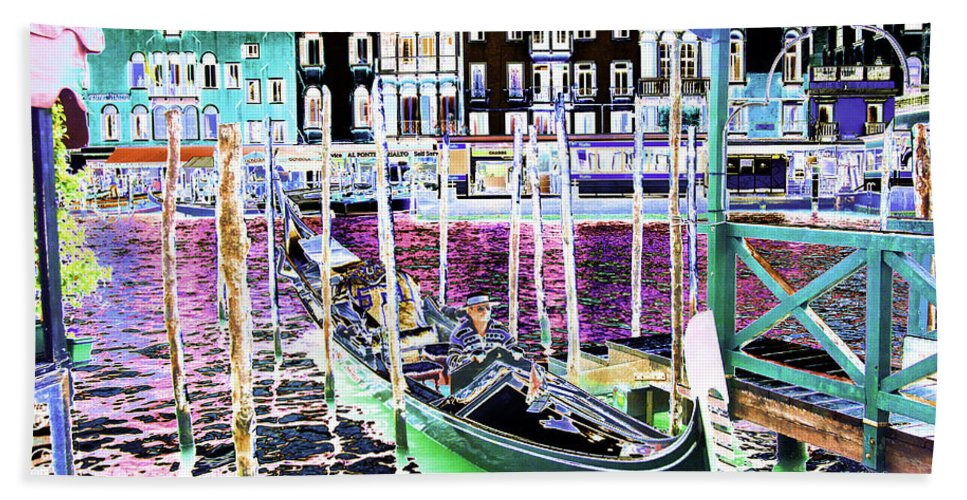 Cruise Holiday Hand Towel featuring the photograph Psychedelic Venetian Scene by Peter Lloyd