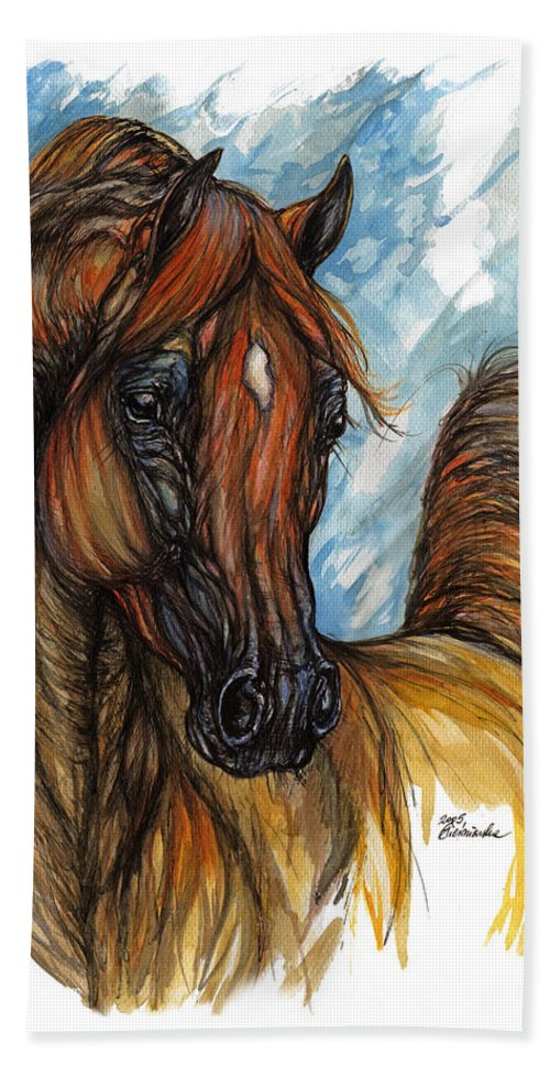 Horse Bath Sheet featuring the painting Psychodelic Chestnut Horse Original Painting 2 by Angel Ciesniarska