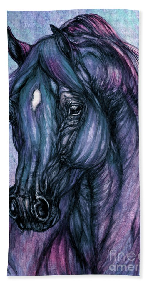 Horse Bath Sheet featuring the painting Psychodelic Deep Blue by Angel Ciesniarska