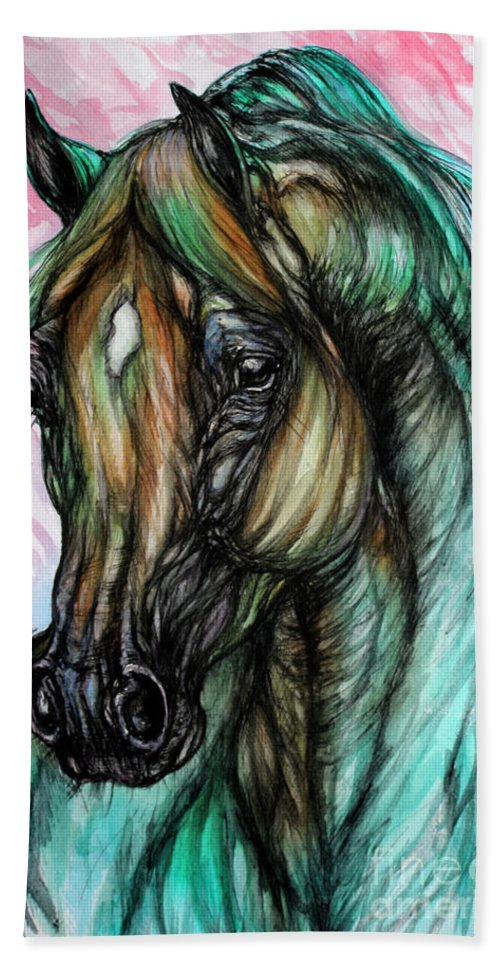 Horse Bath Sheet featuring the painting Psychodelic Pink And Green by Angel Ciesniarska