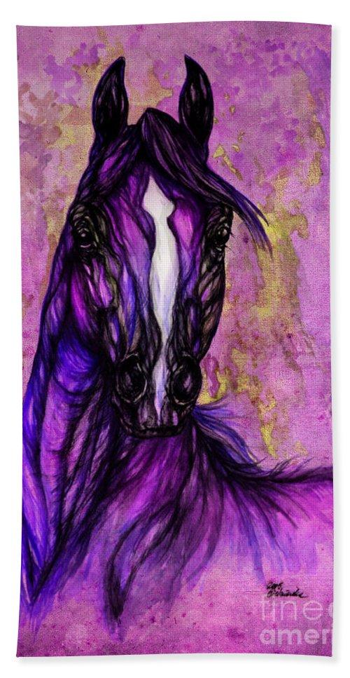Bath Sheet featuring the painting Psychodelic Purple Horse by Angel Ciesniarska