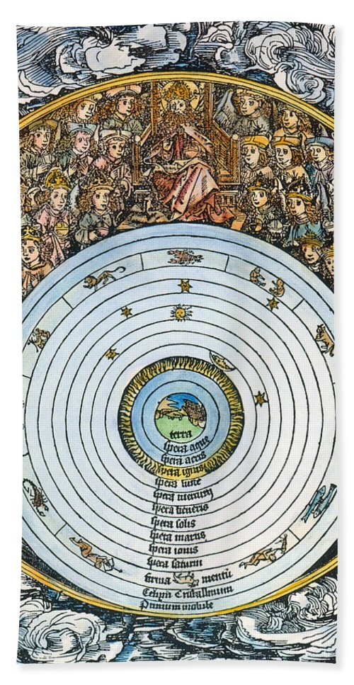 1493 Hand Towel featuring the photograph Ptolemaic Universe, 1493 by Granger