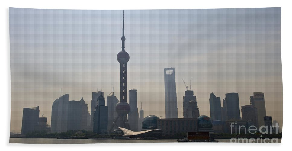 Asia Bath Sheet featuring the photograph Pudong Skyline, China by John Shaw