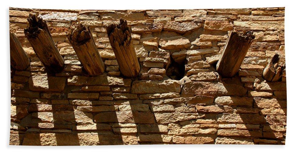 Architecture Hand Towel featuring the photograph Pueblo Bonito Wall by Joe Kozlowski