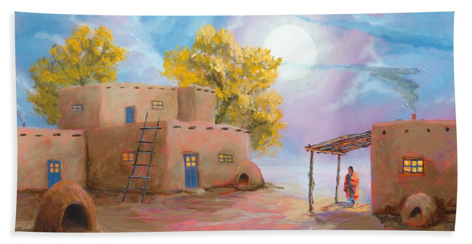 Pueblo Bath Towel featuring the painting Pueblo De Las Lunas by Jerry McElroy