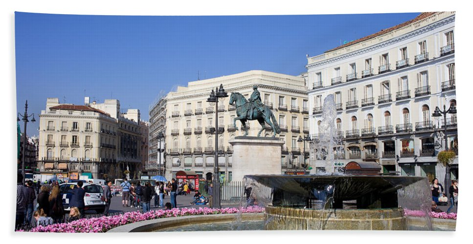 Monument Hand Towel featuring the photograph Puerta Del Sol In Madrid by Artur Bogacki