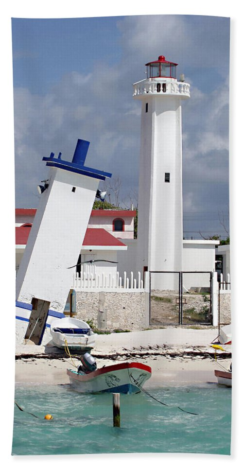 Puerto Morelos Lighthouse Hand Towel featuring the photograph Puerto Morelos Lighthouse by Ellen Henneke