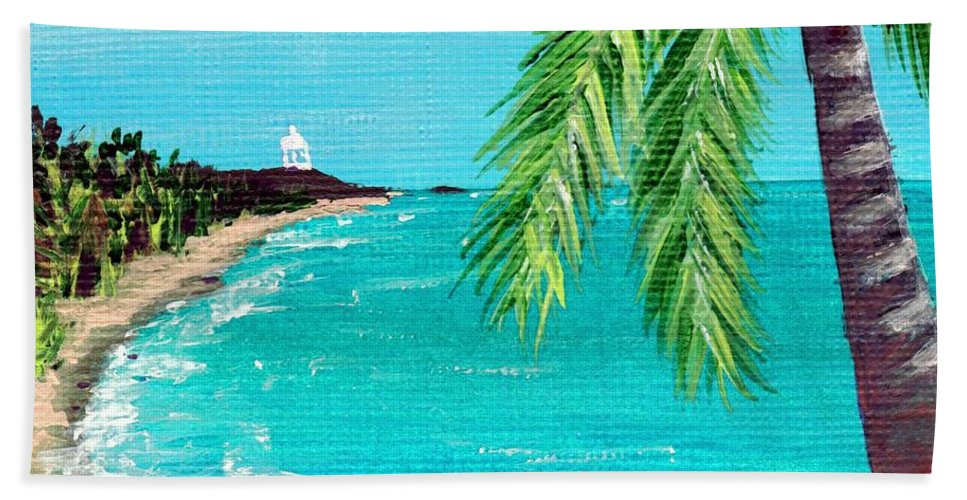 Interior Bath Sheet featuring the painting Puerto Plata Beach by Anastasiya Malakhova