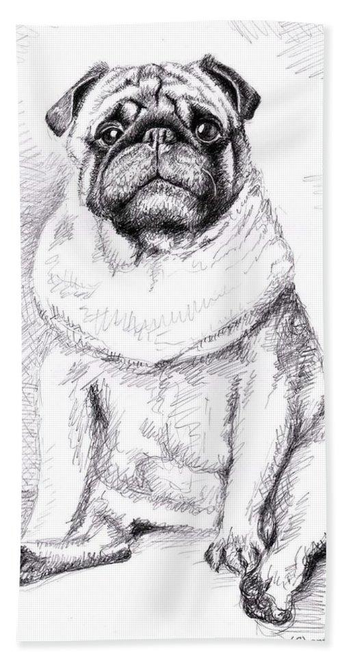 Dog Bath Towel featuring the drawing Pug Anton by Nicole Zeug
