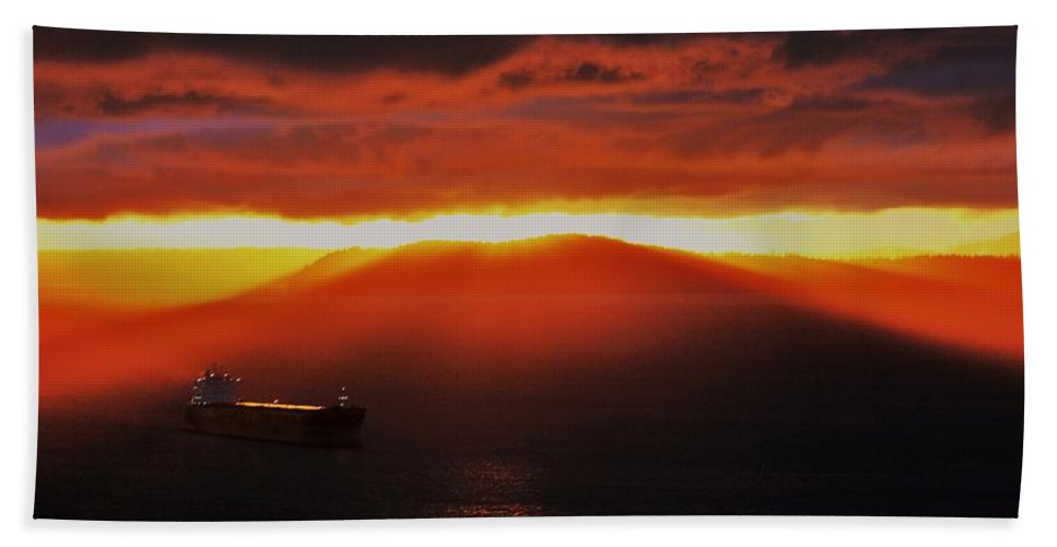 Puget Sound Bath Sheet featuring the photograph Puget Sound Sunset by Benjamin Yeager
