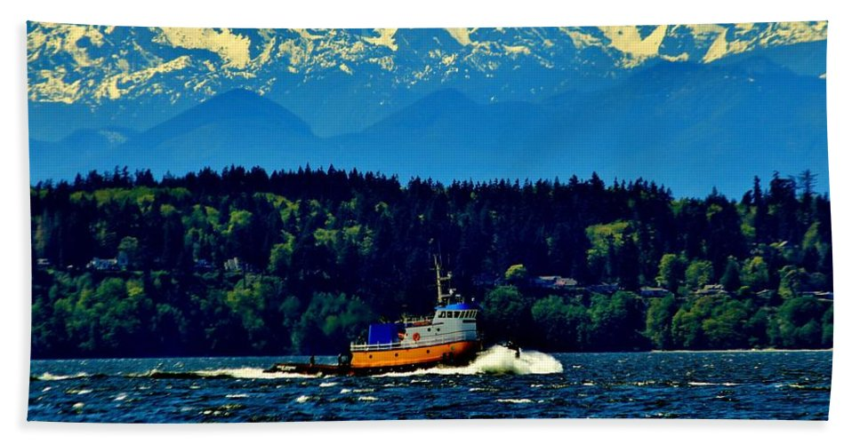 Puget Hand Towel featuring the photograph Puget Sound Tugboat by Benjamin Yeager