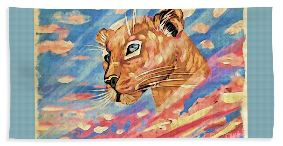 Puma Hand Towel featuring the painting Puma On Watch by Phyllis Kaltenbach