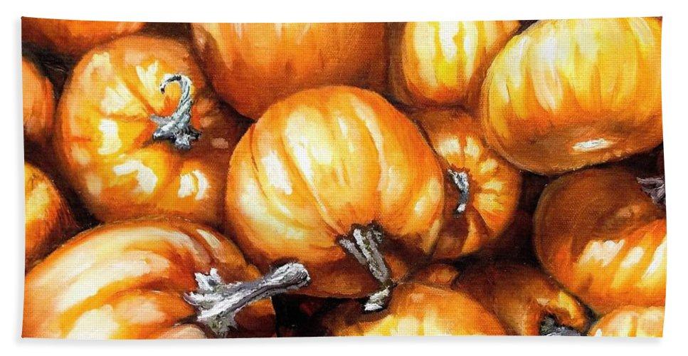 Pumpkins Bath Sheet featuring the painting Pumpkin Palooza by Shana Rowe Jackson