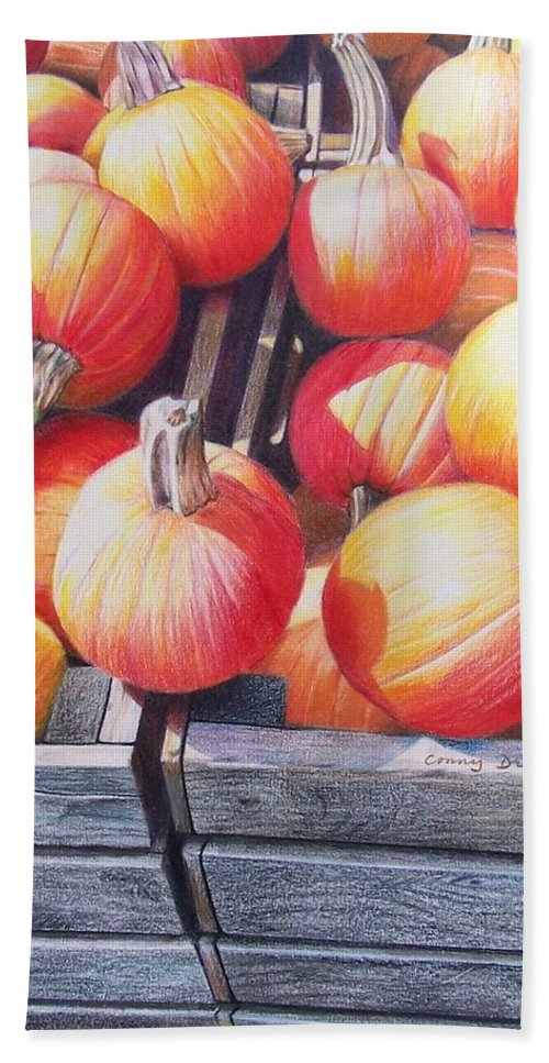 Pumpkins Bath Sheet featuring the painting Pumpkins by Constance Drescher