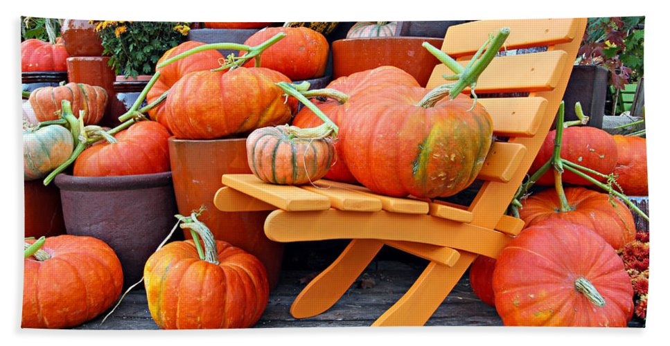 Agriculture Bath Sheet featuring the photograph Pumpkins by Paul Fell