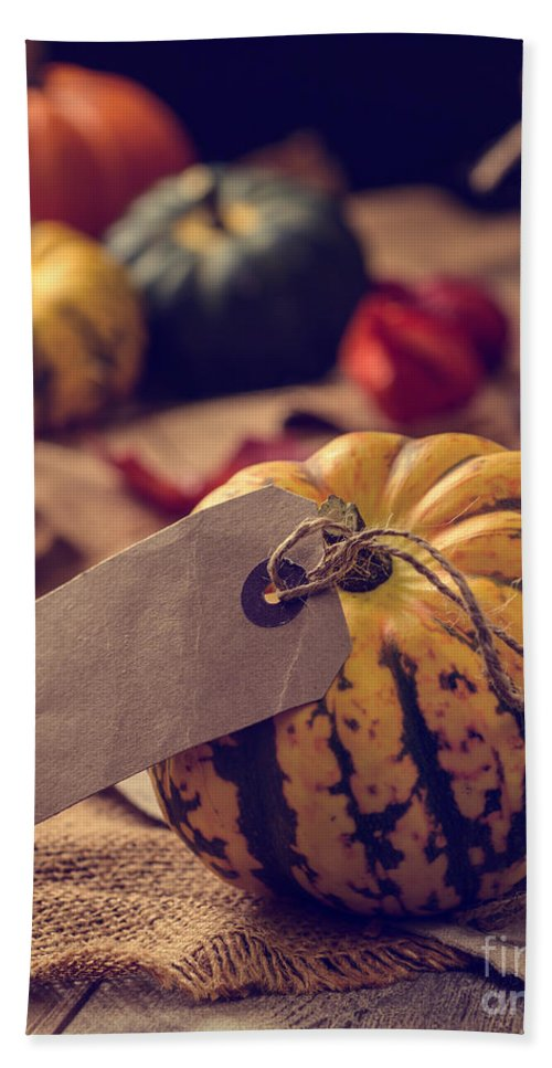 Pumpkin Hand Towel featuring the photograph Pumpkins With Label by Amanda Elwell