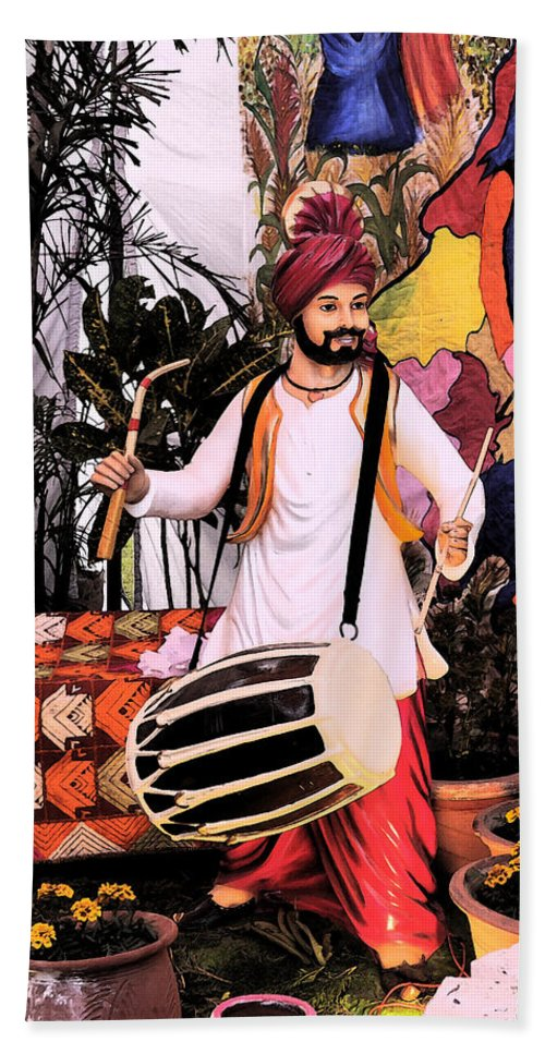 Music Hand Towel featuring the digital art Punjabi Dhol by Bliss Of Art