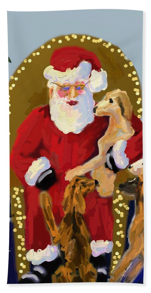 Christmas Hand Towel featuring the painting Puppy Talk by Terry Chacon