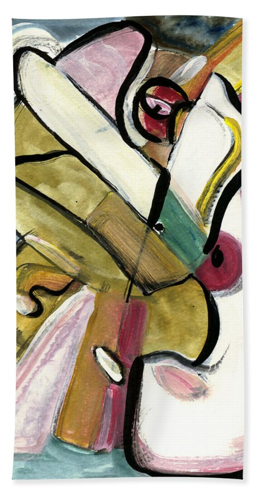 Abstract Art Hand Towel featuring the painting Pure Gold by Stephen Lucas