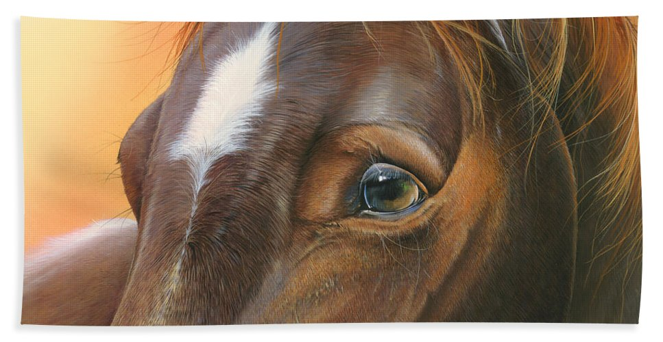Horse Hand Towel featuring the painting Pure Grace by Mike Brown