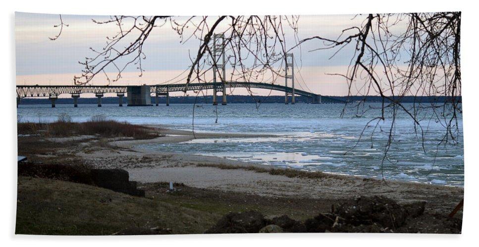 Mackinaw Bridge Hand Towel featuring the photograph Pure Michigan by Linda Kerkau