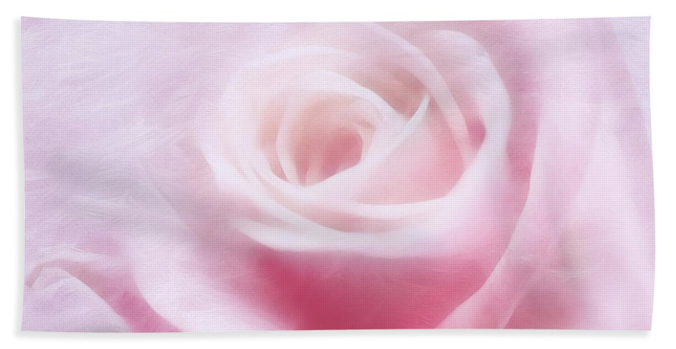Rose Bath Sheet featuring the mixed media Purity And The Pink Rose by Georgiana Romanovna