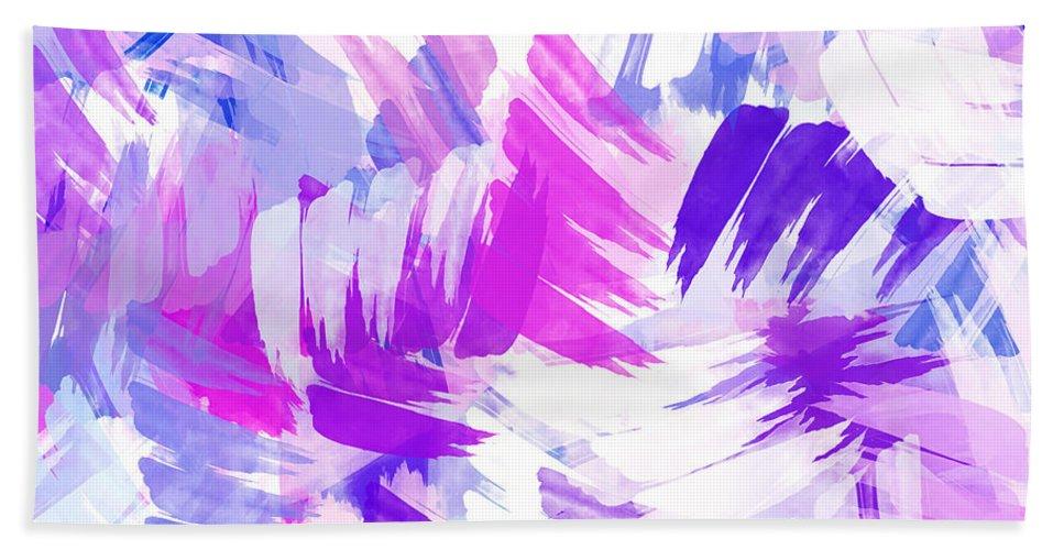 Purple Abstract Paint Pattern Bath Towel