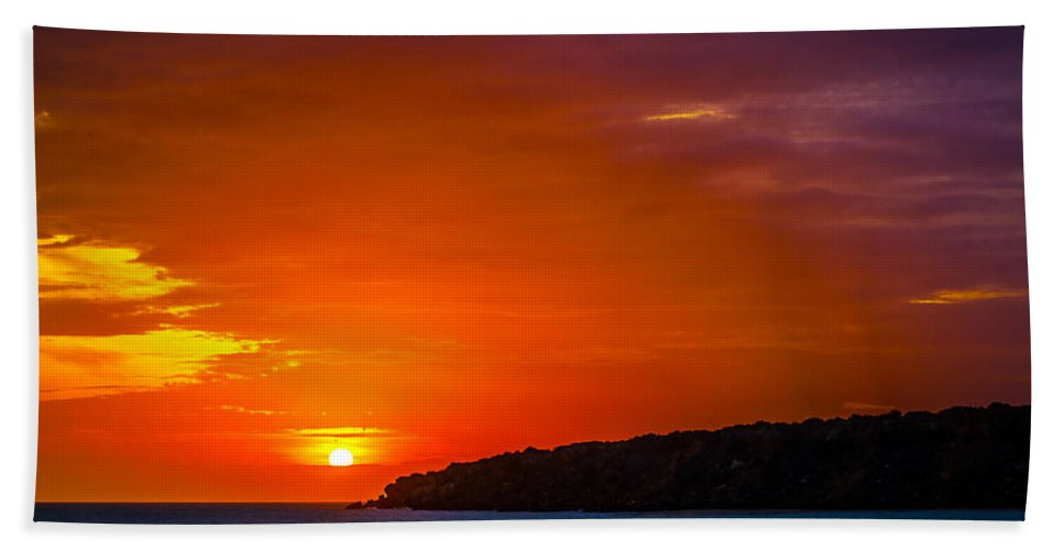 Sunset Bath Sheet featuring the photograph Purple And Orange Sunset by Jess Kraft