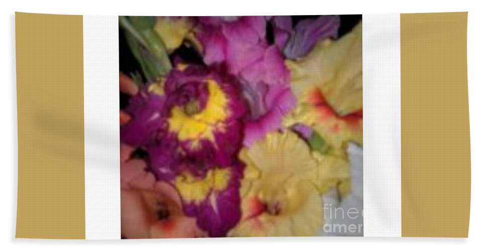 Purple Hand Towel featuring the photograph Purple And White Flowers by Frederick Holiday