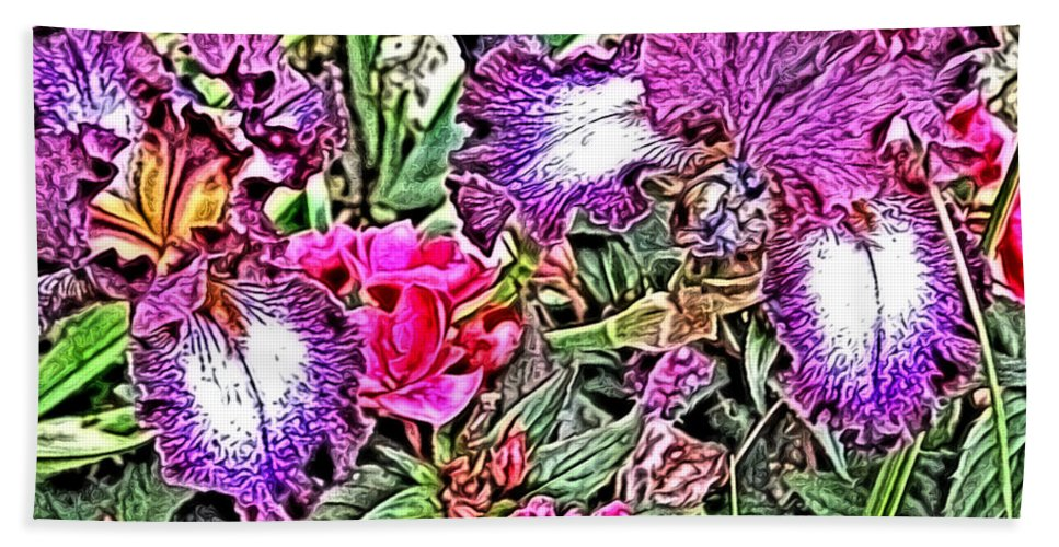 Irises Bath Sheet featuring the digital art Purple And White Irises And Pink Flowers by April Patterson