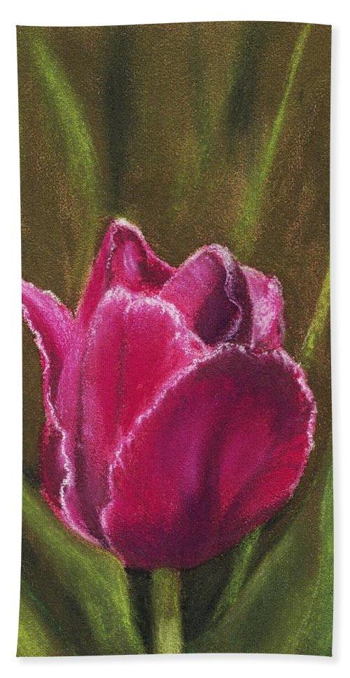 Plant Bath Sheet featuring the painting Purple Beauty by Anastasiya Malakhova