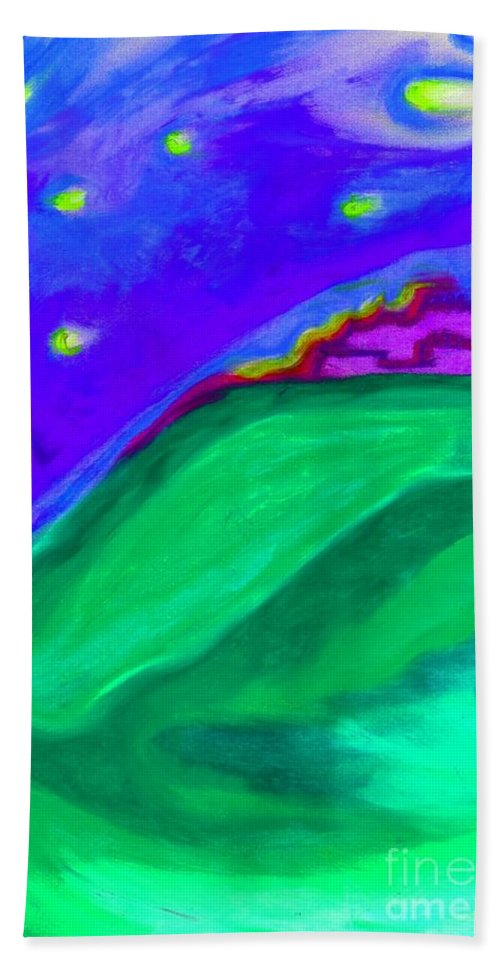 Castle Bath Sheet featuring the painting Purple Castle By Jrr by First Star Art