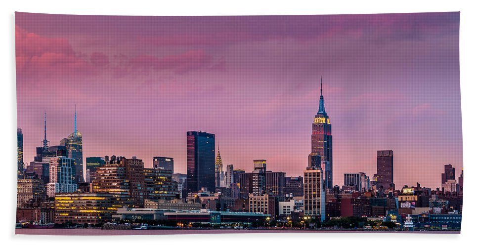 America Bath Sheet featuring the photograph Purple City by Mihai Andritoiu