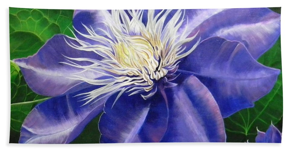 Purple Bath Sheet featuring the painting Purple Clematis by Laura Wilson